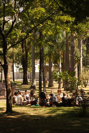 Em meio a algumas árvores altas, está uma roda de pessoas sentadas. São aproximadamente quinze pessoas, e quase todas são mulheres. As copas das árvores sombreiam o gramado de forma irregular. Ao fundo, entrevemos uma construção branca.