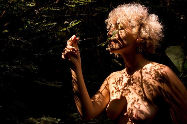 Scheila segura delicadamente o galho fino de uma árvore e cheira as folhas verdes, de olhos fechados. Ela é jovem, tem pele clara, cabelos brancos, curtos e cacheados, e usa brincos grandes. A luz do Sol projeta a sombra das pequenas folhas sobre o busto e os seios desnudos de Scheila.