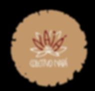 Logo do Coletivo Naiá - O logo é circular, contendo o desenho de uma Vitória Régia com pétalas que se distribuem em um semicírculo. Entre as pétalas brancas e alongadas da Vitória régia, e se confundindo com elas, surgem as letras da palavra Naiá, em vermelho. O fundo do logo é marrom claro, e é contornado por uma faixa branca com linhas marrons, que remetem a um emaranhado de raízes.