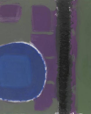 green-and-purple-painting-with-blue-disc