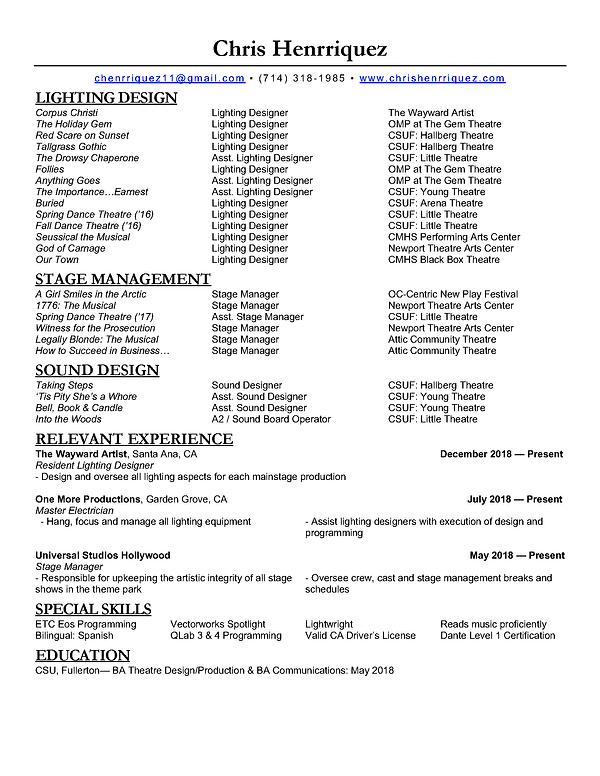 2018 Theatre Resume.LD.Chris Henrriquez.