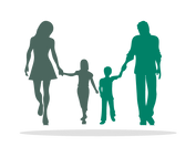 Silhouette of family holding hands in Risdon Hosegood Solicitors brand Greens