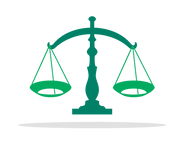 Icon of balanced scales in Risdon Hosegood Solicitors brand Greens