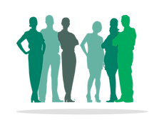 Silhouette of people in Risdon Hosegood Solicitors brand greens