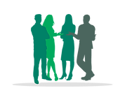 Silhouette of group of people discussing in Risdon Hosegood Solicitors brand Greens