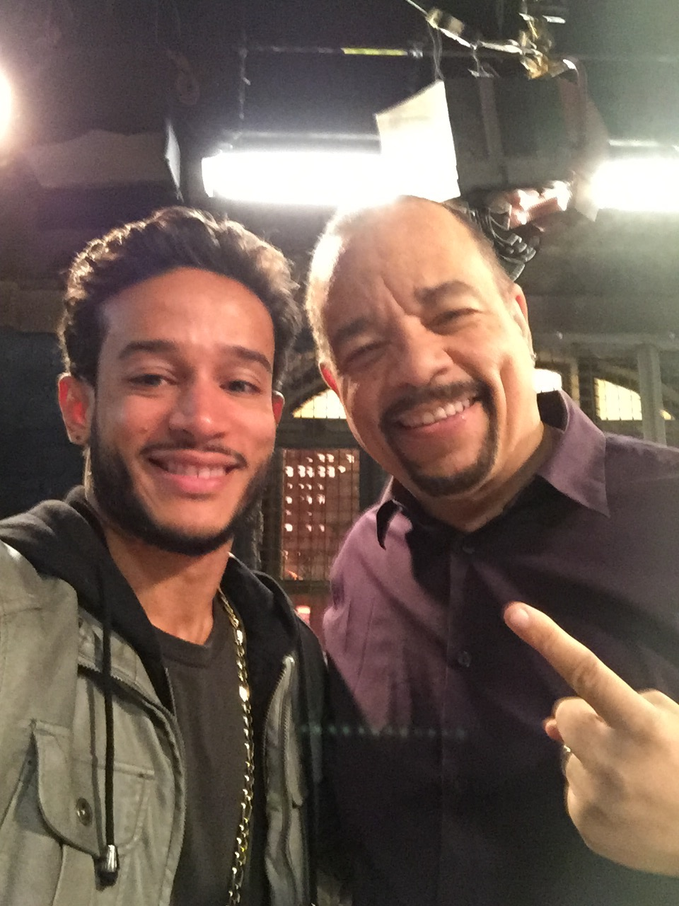 W/ Ice T on set for Law and Order.