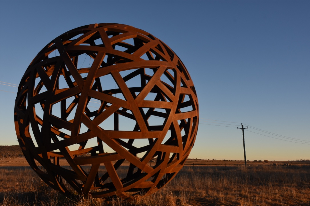Globe sculpture outside Cooma
