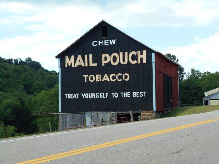 Continuing north on SR 800, you'll see one of several remaining Mail Pouch Barns