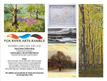 MARK YOUR CALENDARS FOR  Fox Valley Arts Ramble from 9-5 Saturday, June 5, 2021 Held Rain or Shine!