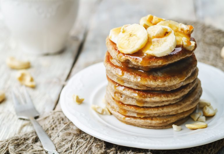 Banana oat and Cinnamon Myrtle pancakes