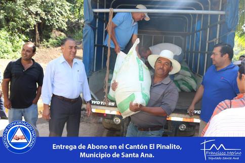 Entrega de fertilizantes agricultores de Santa Ana.