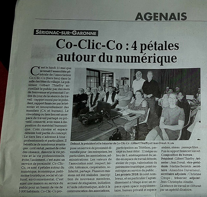 CO-CLIC-CO, coworkig, tiers lieu, Sérignac sur Garonne, Lot et Garonne, 47, espaces de travail, bureau, salle de réunion, connexion internet, wi fi