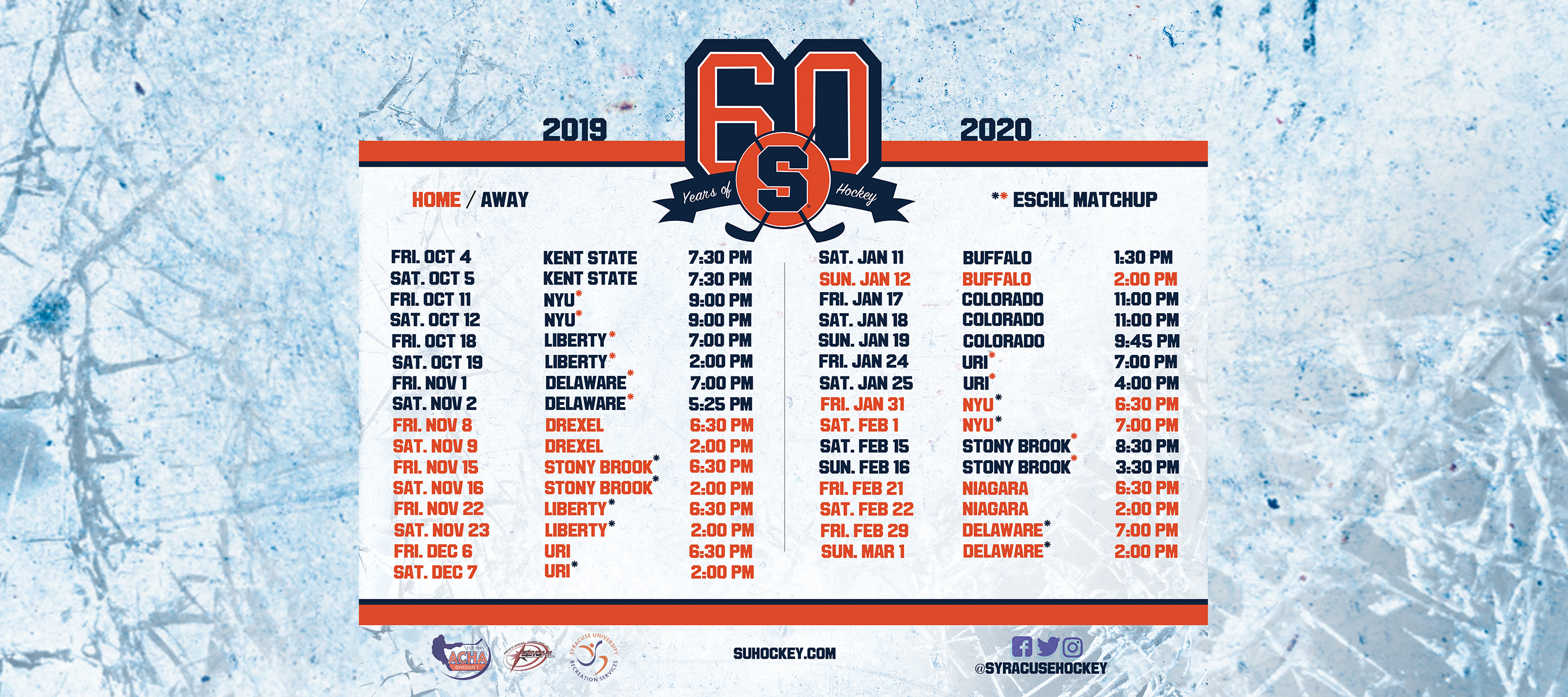 Uri Fall 2020 Schedule.Home Syracuse Men S Ice Hockey