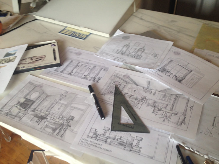 Blueprints for a new property being developed by Heather Garrett Properties in Durham, NC.