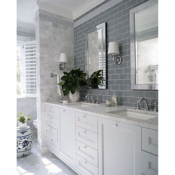 Mix and match tiles in cool tones for a