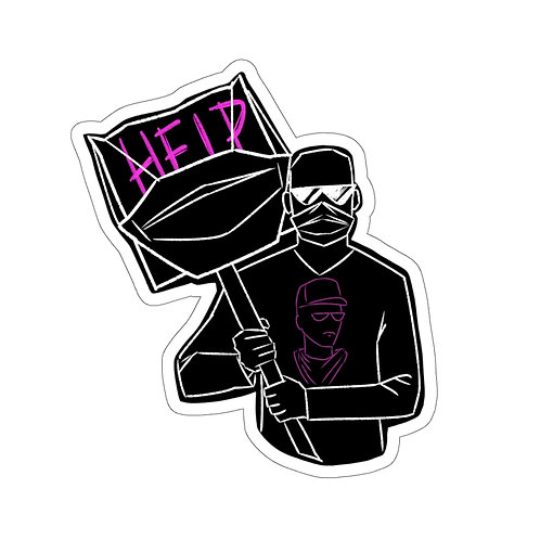 Masked Sign sticker- black
