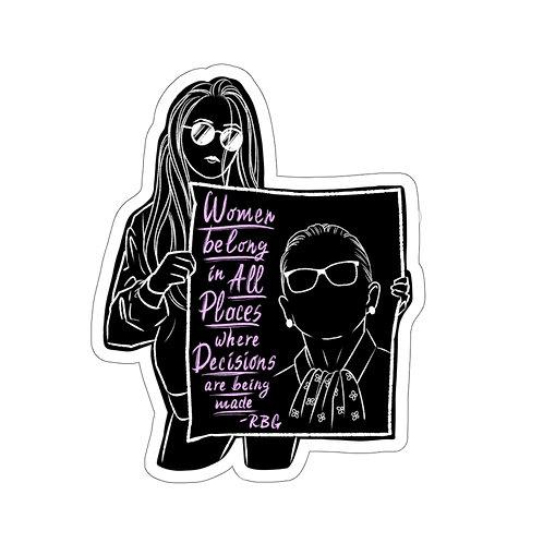 Ruth Bader Ginsburg- Women Belong sticker- black