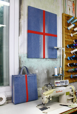 Bag_Art(Cross), fabric bag and canvas, 2017, 53x72cm