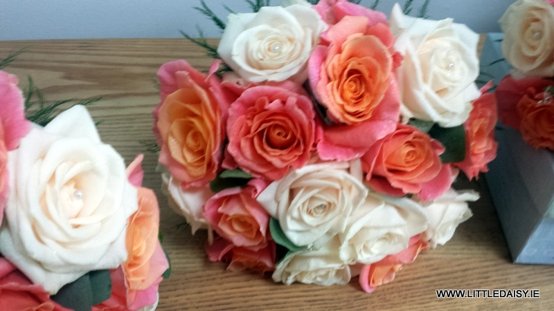 Orange and white roses