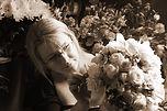 Florist making wedding bouquet
