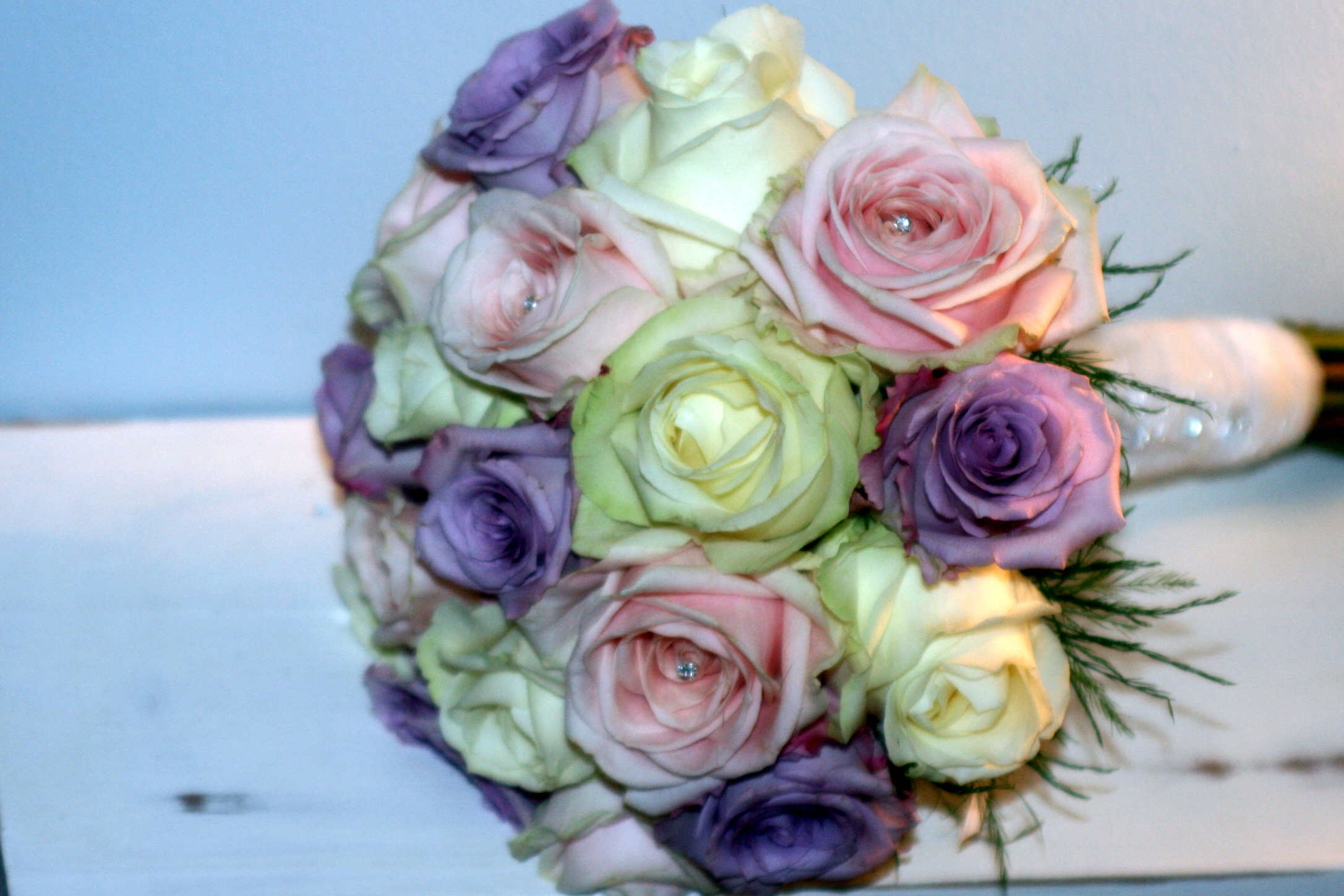 White roses and lavender roses