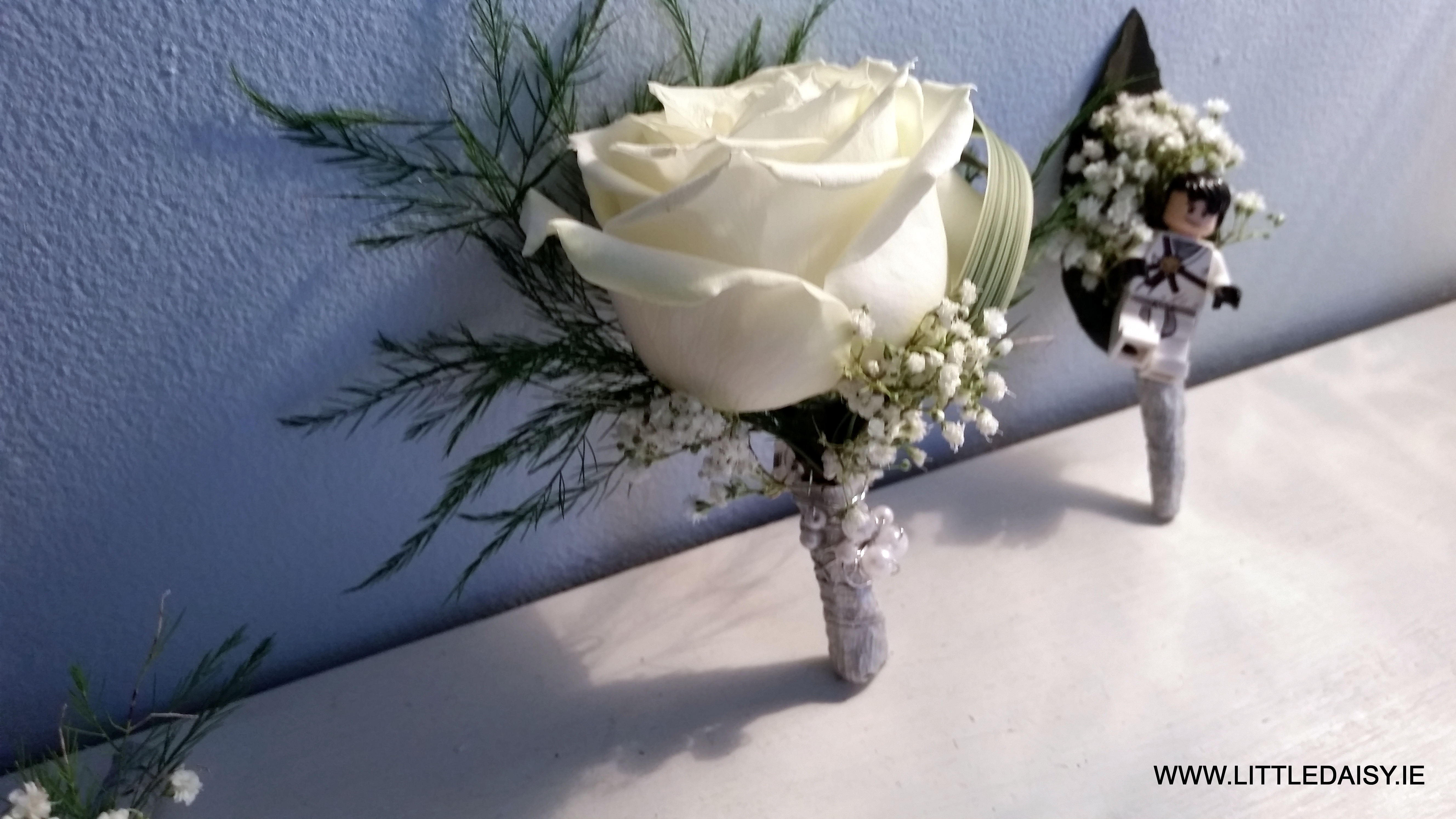 White rose grooms flower