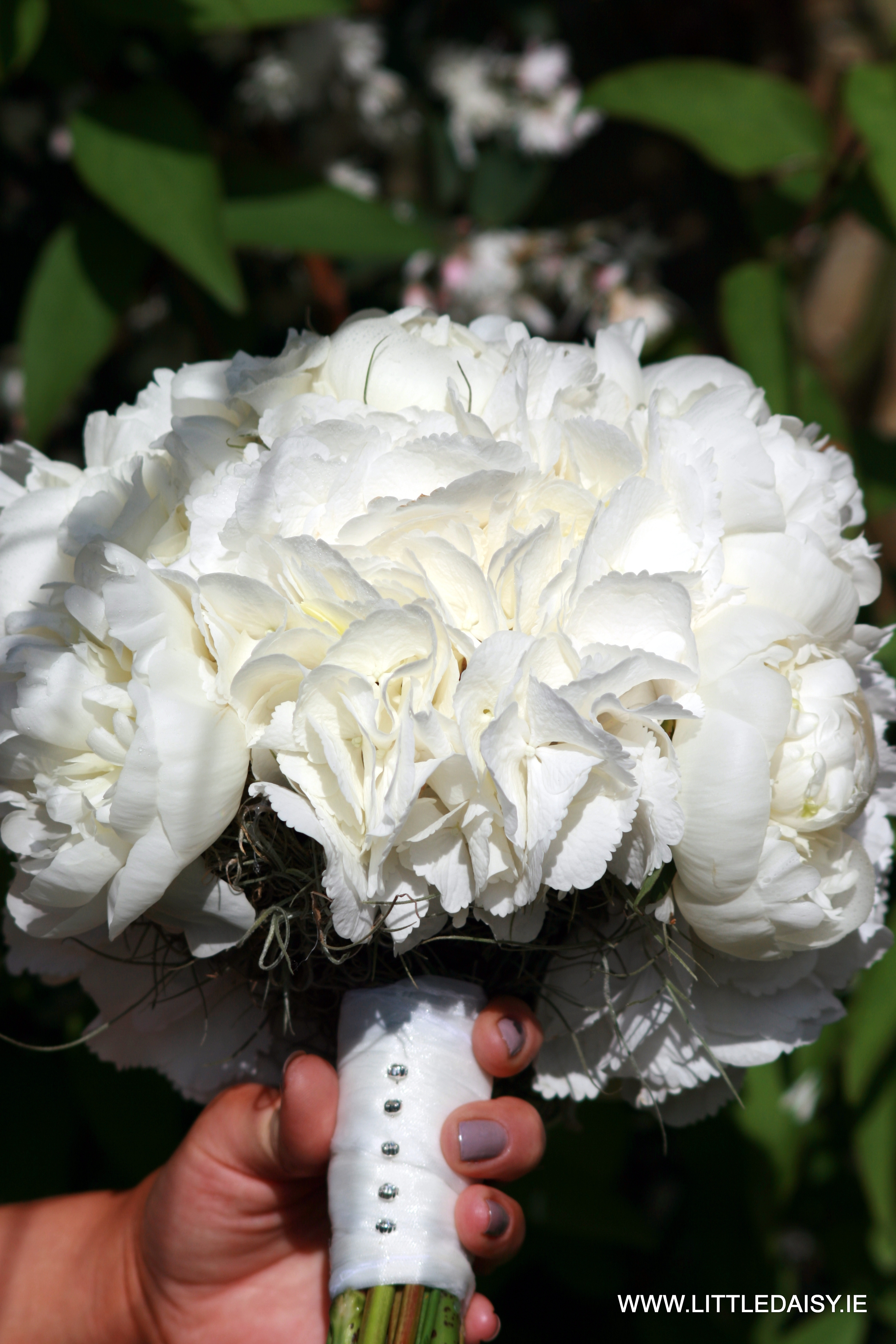 White peony rose bouquet
