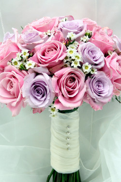 Lavender and pink wedding flowers