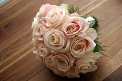 Pink round bridal bouquet