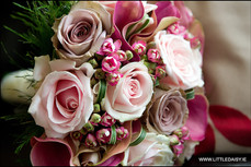 Pink calla lilly and rose bouquet