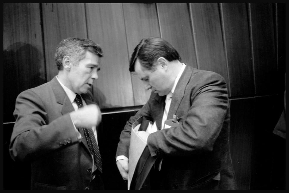 Foreign Minister Gyula Horn with Prime Minister Miklos Nemeth. Budapest, September, 1989.