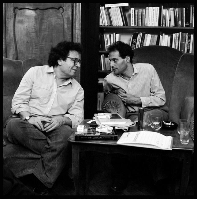 Political dissidents Miklos Haraszti and Gyorgy Konrád, Budapest. March, 1989.