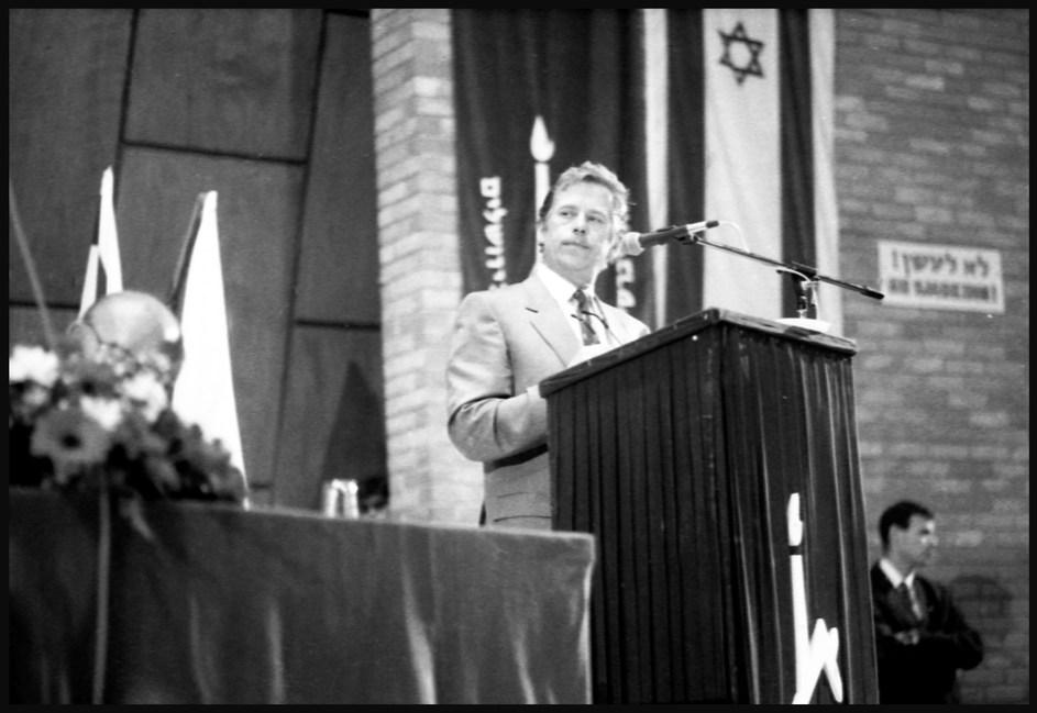 President Vaclav Havel at Hebrew University, Jerusalem. April, 1990.