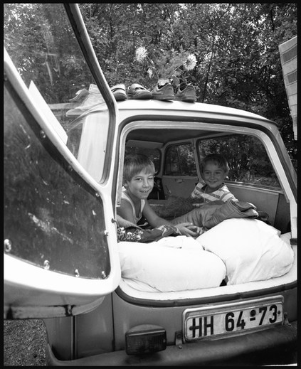 GDR citizens in Budapest waiting to hear that they could leave for West Germany. September, 1989.