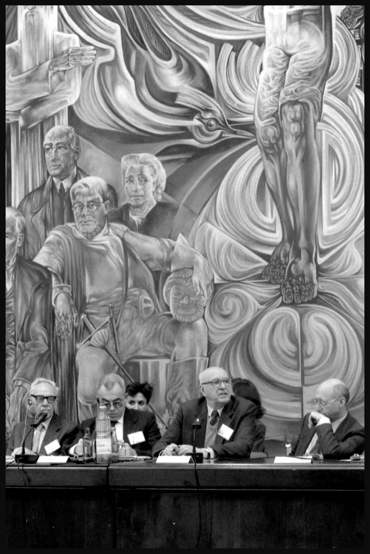 """Podium members of """"The Forty-Fifth Anniversary of Saving the Jews of Bulgaria Conference,"""" November, 1988."""