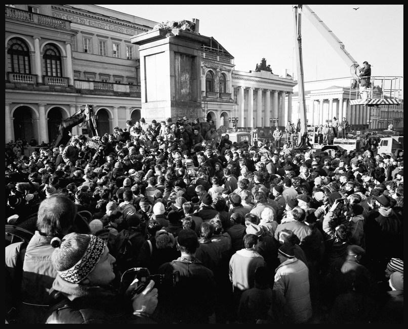 Removing the statue of Felix Dzerzhinsky, founder of the Soviet Union's secret police, Warsaw. November, 1989.