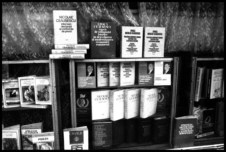 A bookstore stocked almost exclusively with books by Nicolae Ceausescu.