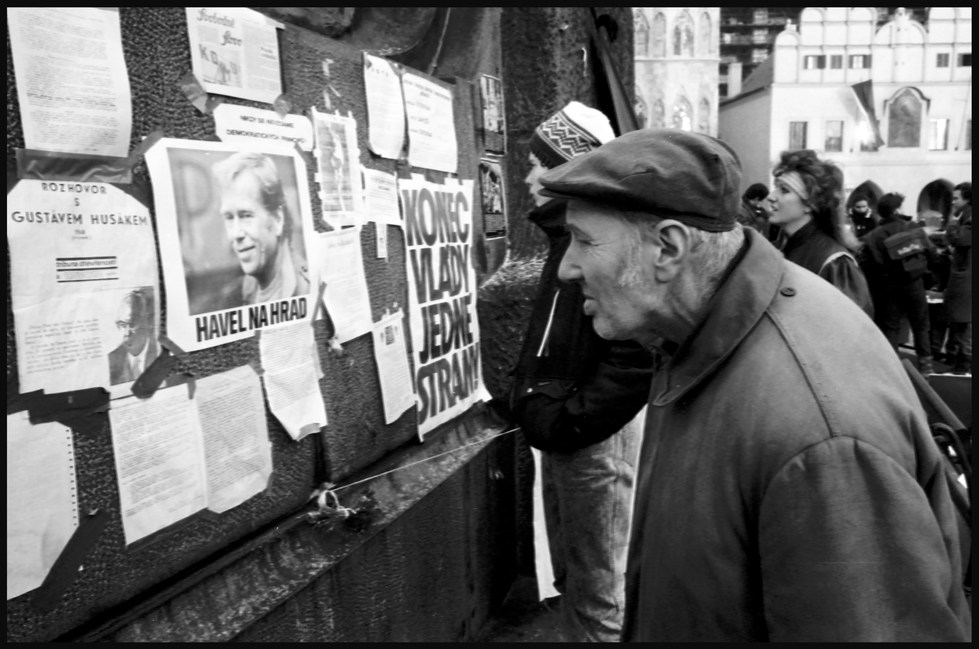 Seeing and reading but finding it hard to believe, Prague. November, 1989.