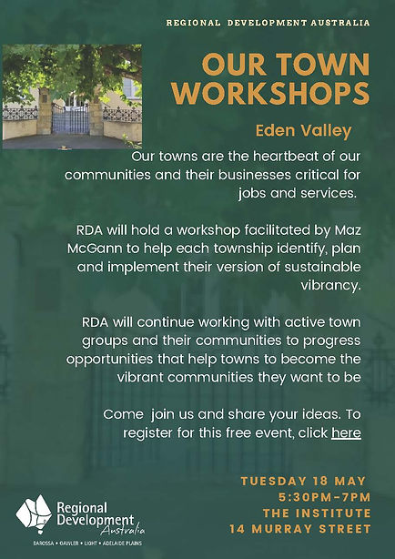 Our Towns workshop Eden Valley poster (1