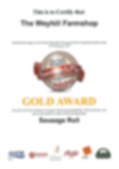 Gold Award for Sausage Rolls