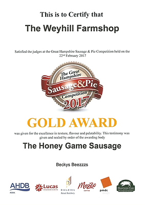 Gold Award for Certificate for Sausages