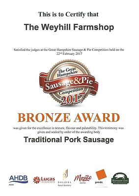 Award winning sausage