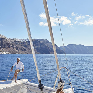 Saling in Santorini