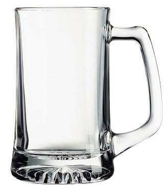Glass, Sport, Heavy Bottom, Angled Handle, Barware, Thumb Rest Handle, Round, Glassware, Drinkware, Transparent