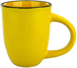 Mug, Cup, Café, Coffee House, 14 oz., Large, Jumbo, Two Tone, Dual Color, Contrast trim, Comfort Handle, Ergo Handle