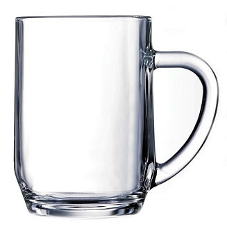 Transparent, 20 Oz., Round, Beer Cup, Closed Handle, Open Top, Ear Handle, Drink Holder