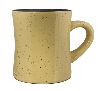 C Handle, 10 Oz. Capacity, Speckled, Carrying Handle, Small Handle, Coffee Cup, Hot Chocolate Cup, Contoured Body, Ceramic