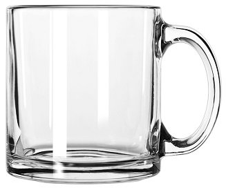 Round, C Handle, Glass, Hot Drink Holder, Coffee Cup, Thick Base