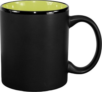 Black Matte exterior, Color interior, Vitrified,C-Handle, Coffee Cup, Coffee Sipper, Coffee Drinkware, Beverage Holder