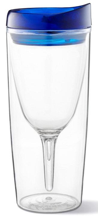 Beverage Holder, Portable, Large, Wine, Snap On Lid, Round, Vino